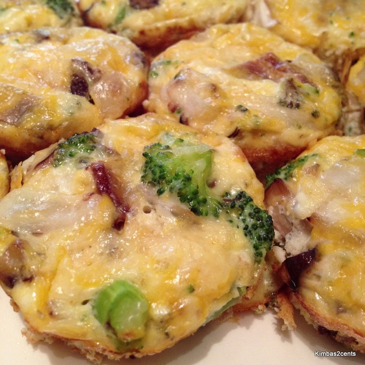 ... Mushroom, broccoli and cheddar mini quiche (I also added bacon, wooot