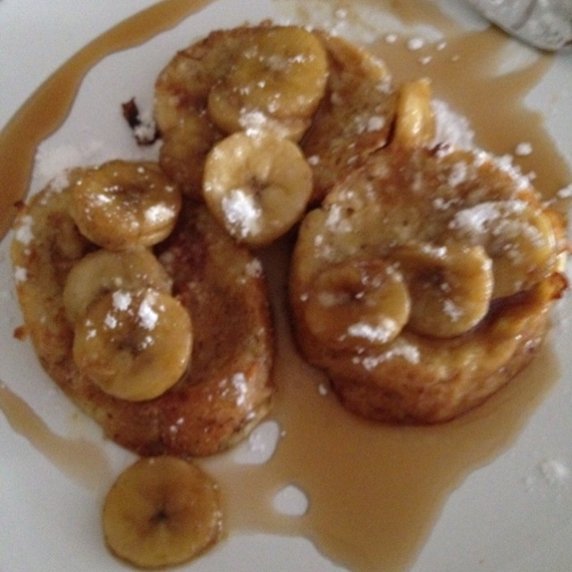 Bananas foster french toast. Warm bananas in melted butter and brown ...
