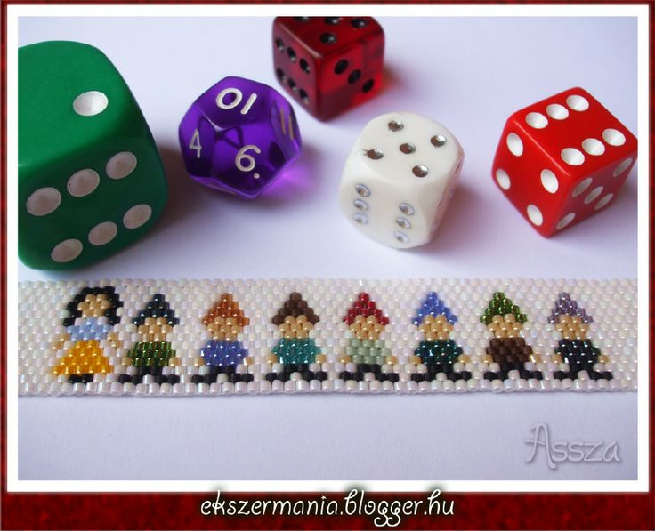 Snow White and the Seven Dwarfs beaded bracelet pattern peyote seed
