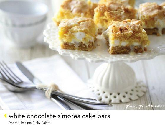 White Chocolate S'mores Gooey Cake Bars Recipe — Dishmaps