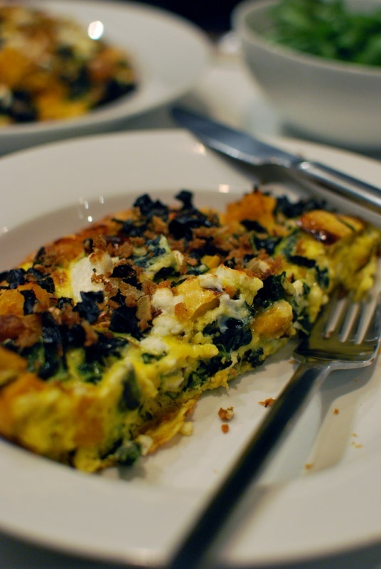 frittata with tuscan kale, roasted delicata squash, and goat cheese # ...