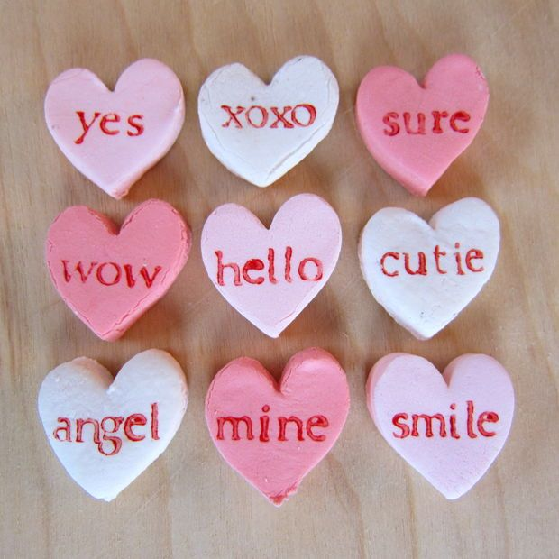 Homemade personalized candy hearts. | Treats | Pinterest