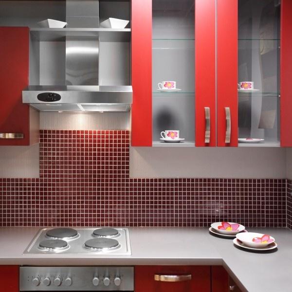 Kitchen Tiles Colour Combination: Red Tile Backsplash