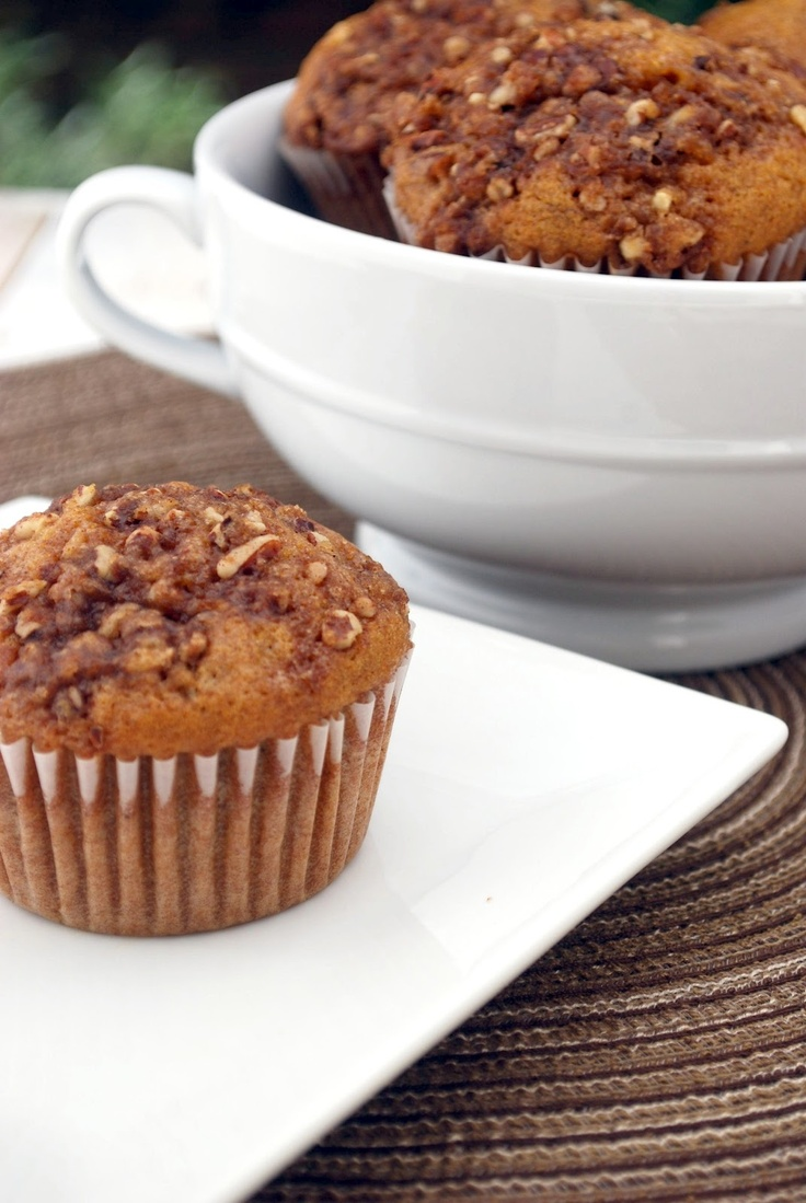 Pumpkin Spice Muffins with Pecan Streusel Topping
