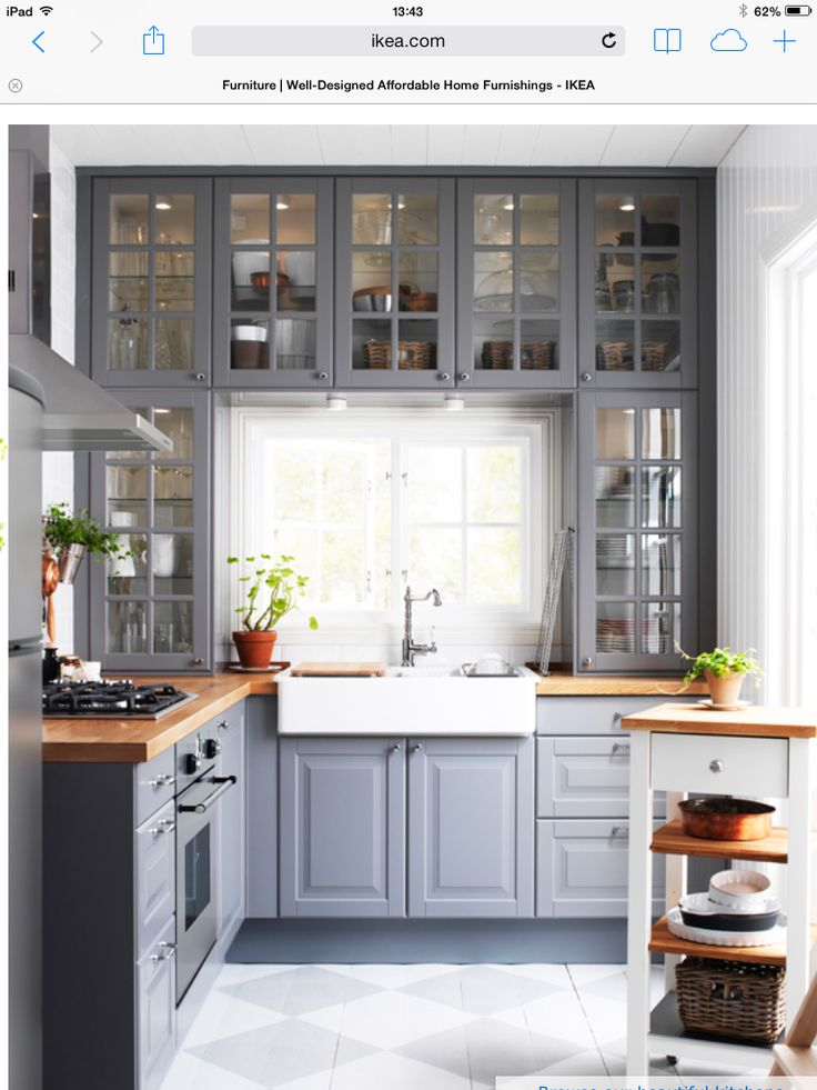 gray cabinets, butcher block counter