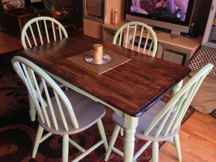 Pin by brittany conway on table redo 39 s pinterest - Refinish kitchen table top ...