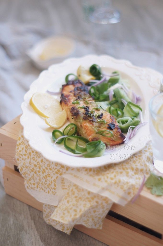 wasabi marinated salmon with cucumber salad from ecurry