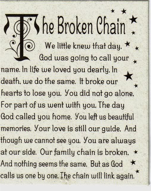 the broken chain The broken chain poem is a heartwarming poem which offers the reassurance that those we love will become a part of us once again displaying products 1 - 11 of 11 .