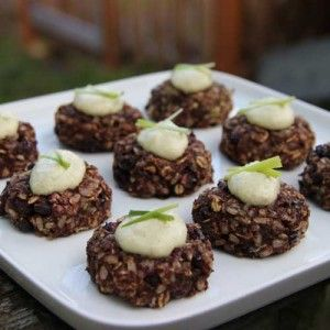 Spicy Black Bean Cakes with Pumpkin Seed Crema
