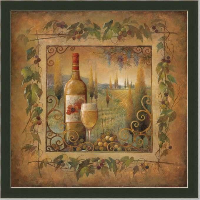 Tuscan Kitchen Art: Tuscan Wine Country II Kitchen Decor Art Print Framed