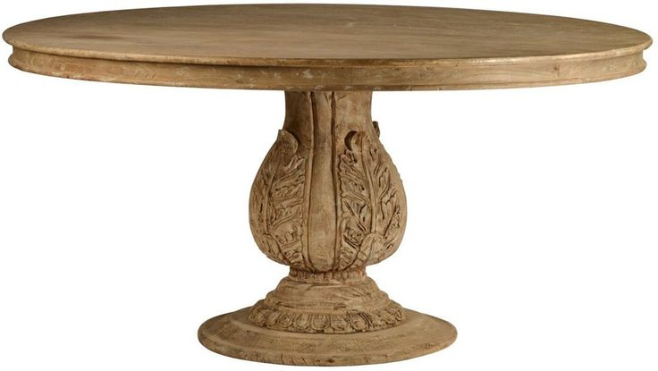 round pedestal dining table solid reclaimed hard wood hand carved base