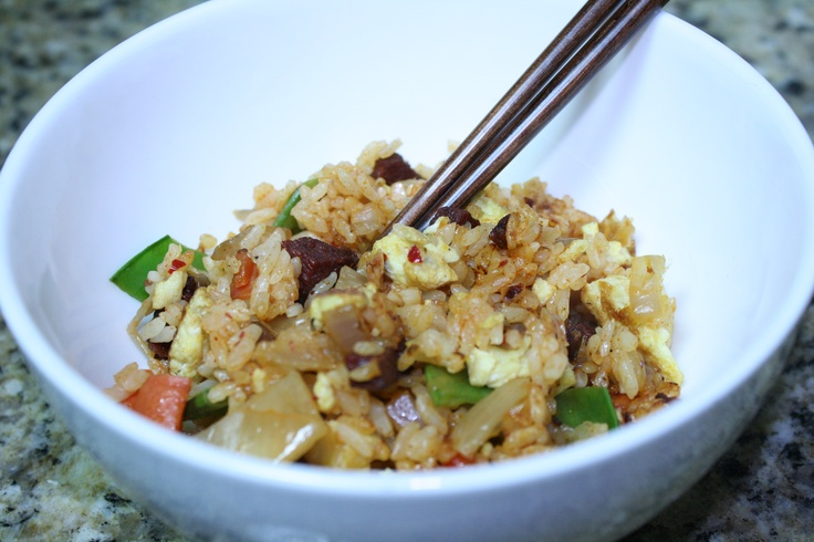 Bacon and kimchi fried rice. Seriously, the best tasting fried rice ...