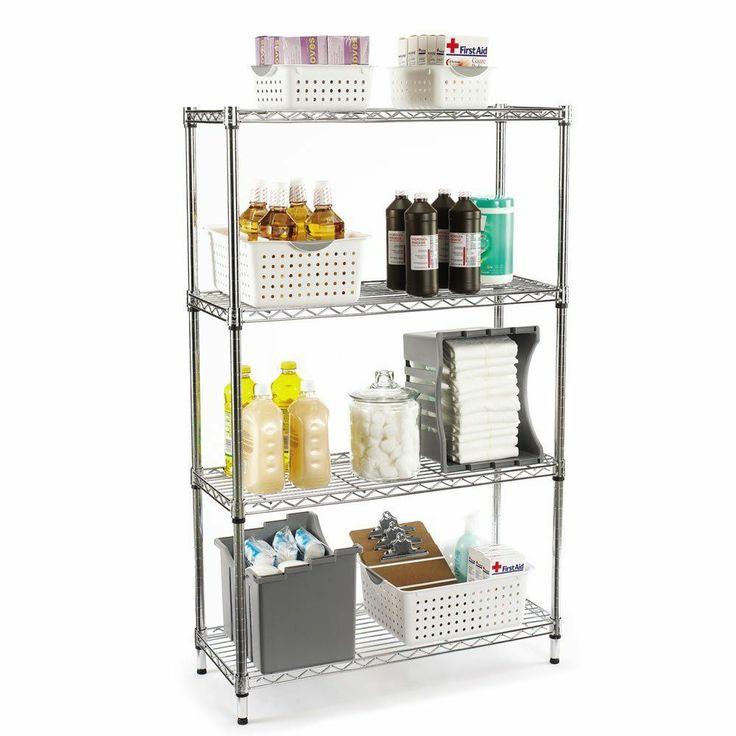 garage shelving unit chrome plated steel storage unit. Black Bedroom Furniture Sets. Home Design Ideas