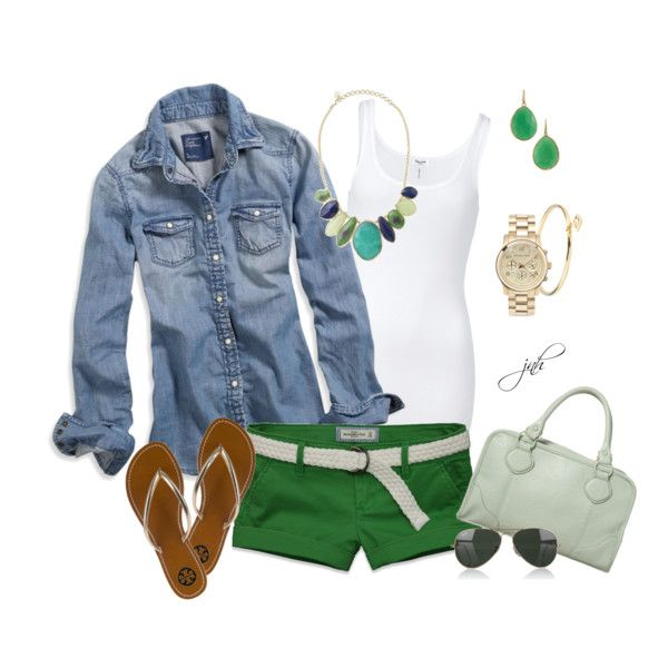 Green Shorts, created by jill-hammel on Polyvore