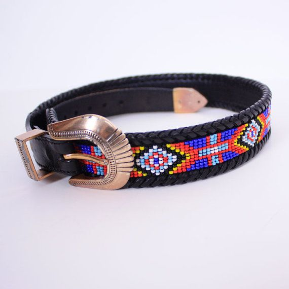 vintage beaded navajo black leather belt