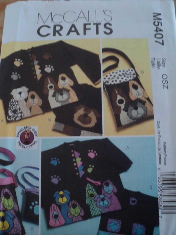 Sewing Pattern McCalls Crafts M5407 Dog Appliques & Totes Convert Swe