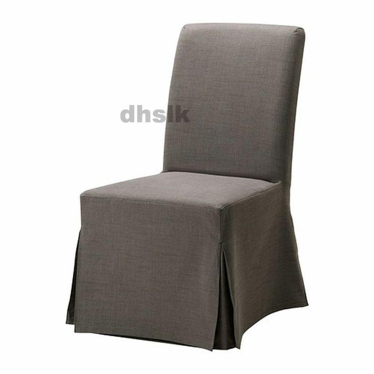 IKEA HENRIKSDAL Chair SLIPCOVER Cover SKIRTED Svanby GRAY Grey LONG D