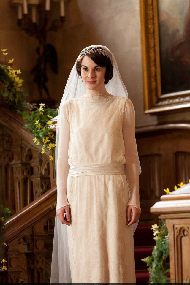 Downton abbey wedding dress downton abby pinterest for Downton abbey style wedding dress