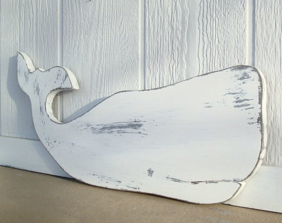 White Whale Wall Decor : Nautical wall art wood whale white