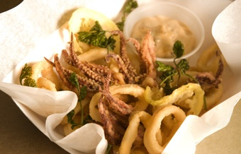 Truck's Chinese five spice calamari with fried lemon slices and fried ...