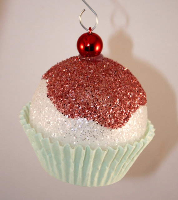 Light blue cupcake christmas ornaments cherry glitter for Christmas decorations to make yourself