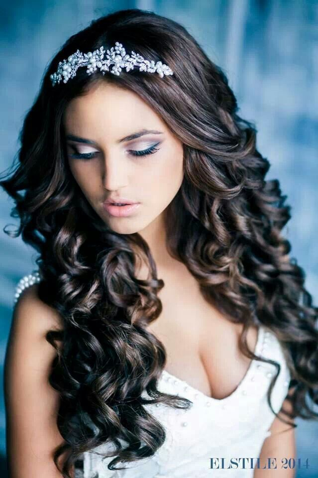 Bridal Hair Style: Long curls and a tiara. For this hair color ask ...