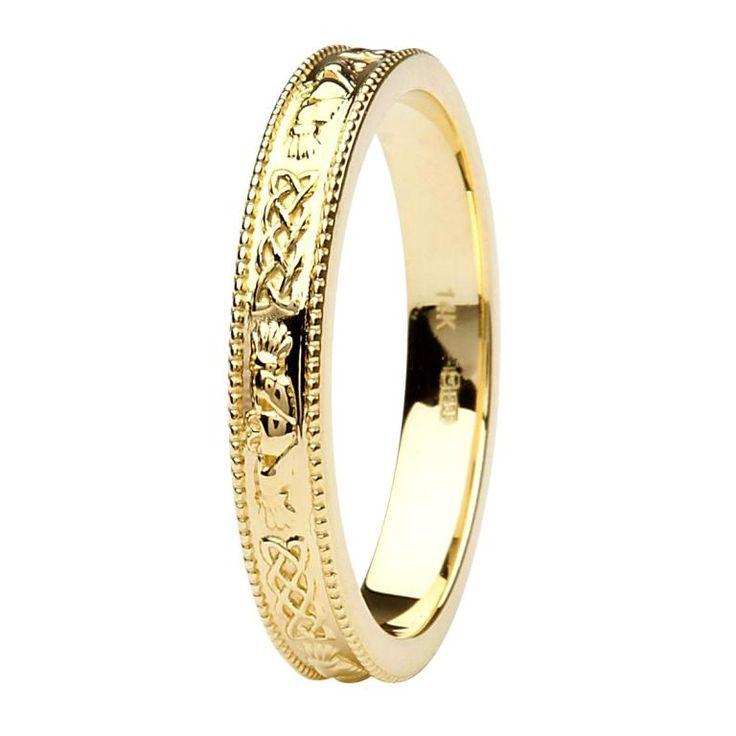 Claddagh Wedding Rings Claddagh And Celtic 14K Yellow Gold Wedding Ring