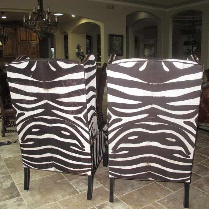 Hair on hide shaved zebra pattern animal print hide furniture