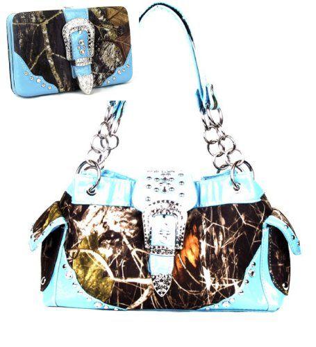 Blue Camouflage Buckle Rhinestone Purse W Matching Wallet Handbags ...