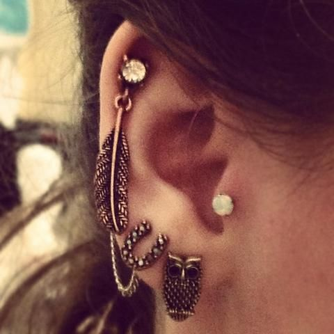 Cute cartilage earring. | Tattoos and Piercings :) | Pinterest