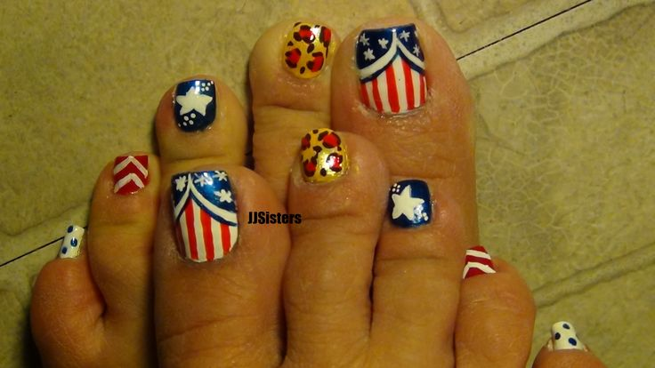 July 4 toe nail design with a twist. | Nail designs | Pinterest