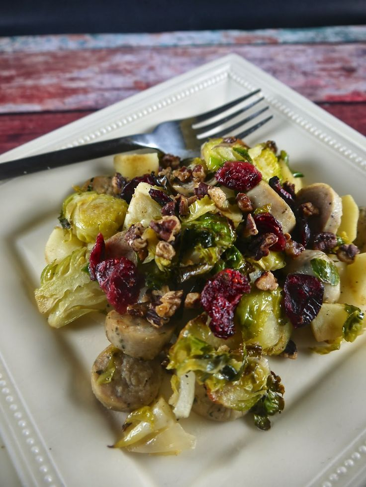 Paleo Roasted Brussels Sprouts with Apples and Sausage - the preppy ...