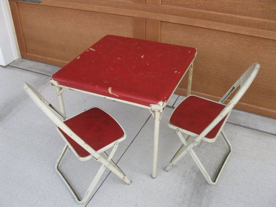 Mid Century Childs Card Table and Chairs Folding Chairs Metal Red