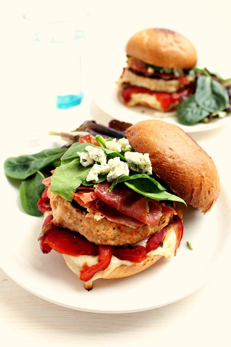 Turkey Burgers with Roasted Red Peppers + Blue Cheese + Serrano Ham C ...