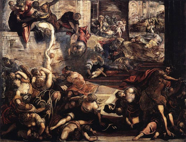 Le Tintoret (Jacopo Robusti, 1518-1594) : le massacre des Innocents. 1582-87. Huile sur toile, 422 x 546 cm. Venise, Scuola grande di San Rocco.