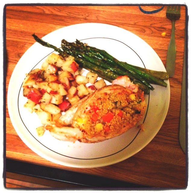 ... roasted asparagus and herb roasted new potatoes. That's how I do