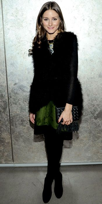 Olivia Palermo green skirt
