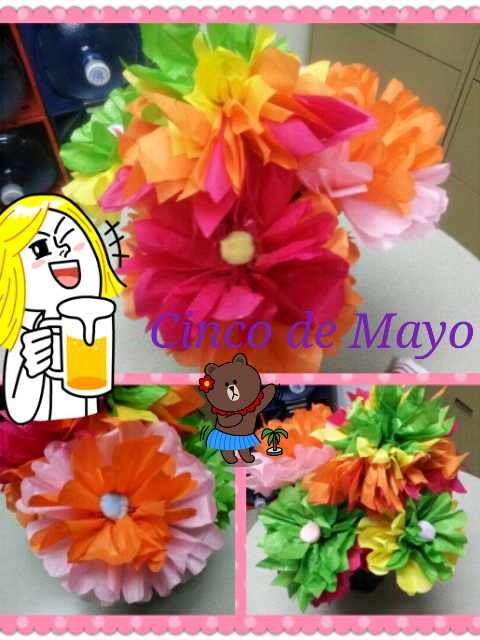Made some paper flowers for cinco de mayo party at our office