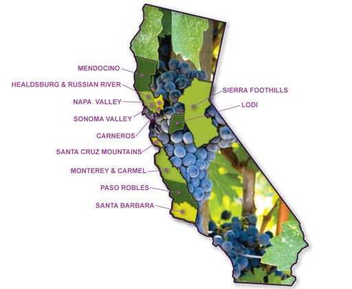 California wine country map favorite places and spaces for California wine