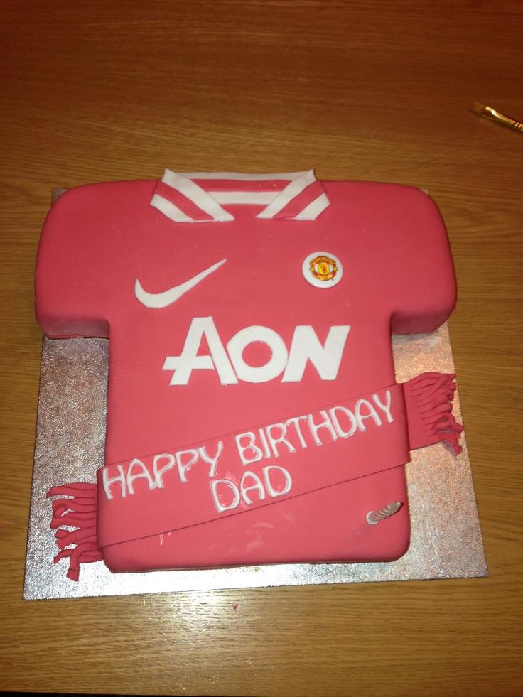 Dads b-day cake. Choc fudge man utd cake | Sinead's Cakes | Pinterest