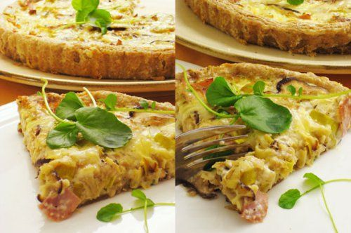 Leek, Mushroom and Ham Quiche | Petite dejeuner | Pinterest