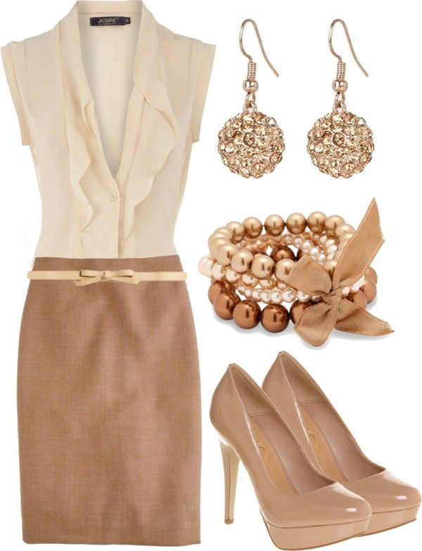 Skirt,lovely cream top,amazing pumps and jewleries