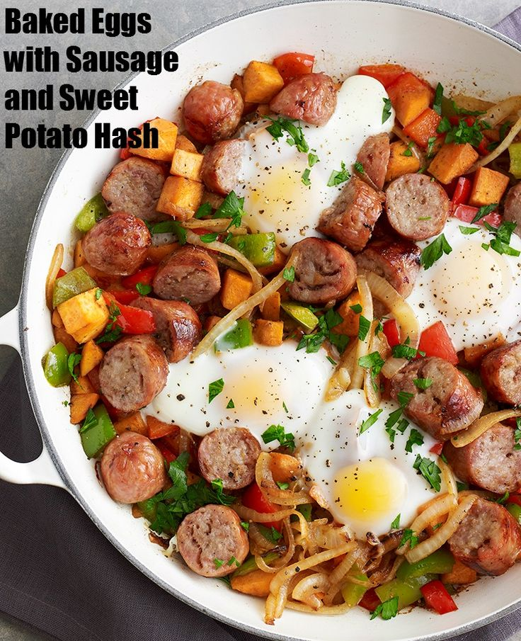 Baked Eggs with Sausage & Sweet Potato Hash - A one pot meal, a hearty ...