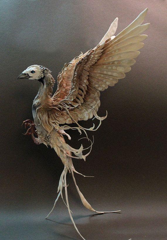 """Ethereal Bird"" mixed media bird sculpture by creaturesfromel on Etsy."