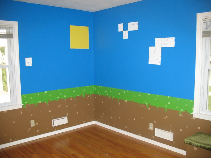 Dirt blocks with sky sun clouds minecraft bedroom for Minecraft lounge ideas