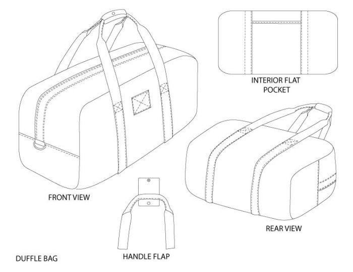 Duffle Bag Fashion Technical Drawings Pinterest