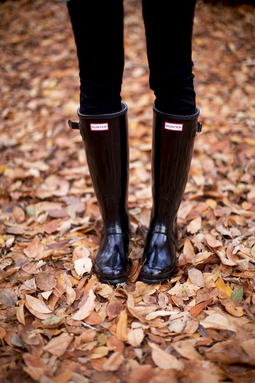 Hunter Boots in fall leaves