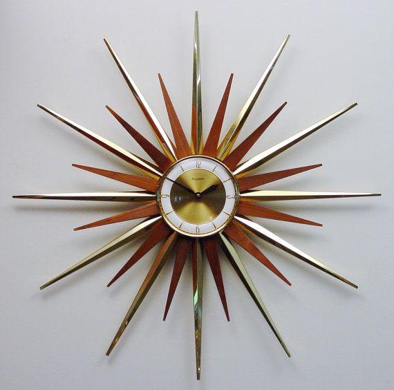 mid century modern starburst wall clock by forestville atomic firewo