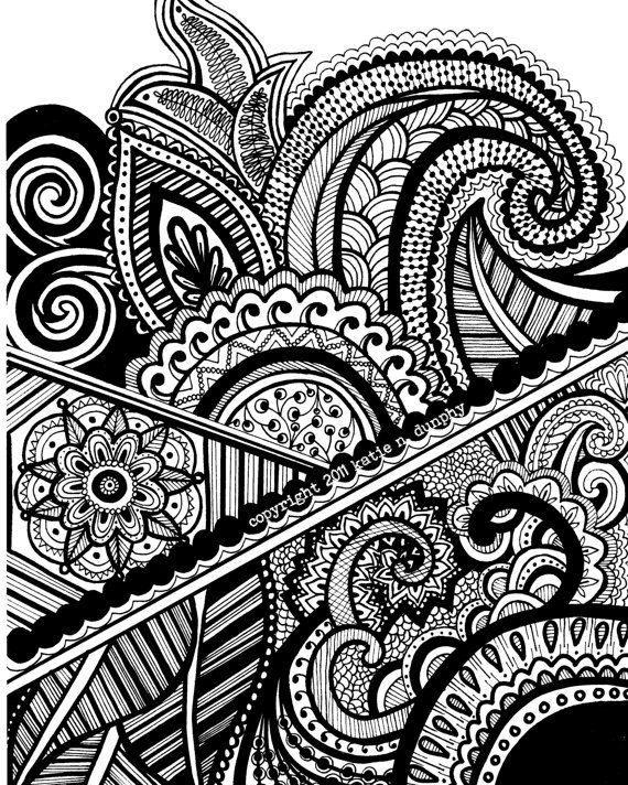 Mehndi Patterns Drawings : Henna mehndi drawing quot x print original design by katie
