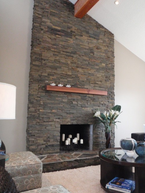 Stacked Stone Fireplace Living Room Fireplaces Pinterest